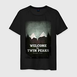 Футболка хлопковая мужская Welcome to Twin Peaks цвета черный — фото 1