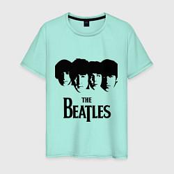 Футболка хлопковая мужская The Beatles: Faces цвета мятный — фото 1