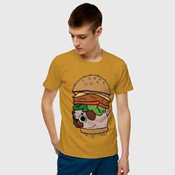 Футболка хлопковая мужская Мопсбургер цвета горчичный — фото 2