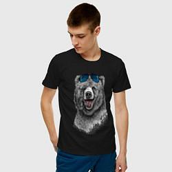 Футболка хлопковая мужская Медведь в очках цвета черный — фото 2