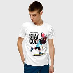 Футболка хлопковая мужская Stay cool цвета белый — фото 2