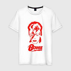Футболка хлопковая мужская Дэвид Боуи цвета белый — фото 1
