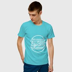 Футболка хлопковая мужская Foo Fighters: Retro style цвета бирюзовый — фото 2