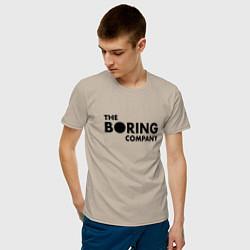 Футболка хлопковая мужская The boring company цвета миндальный — фото 2