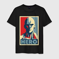 Мужская хлопковая футболка с принтом Saitama Hero, цвет: черный, артикул: 10139982300001 — фото 1