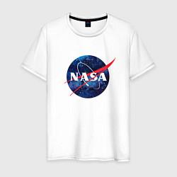 Футболка хлопковая мужская NASA: Cosmic Logo цвета белый — фото 1