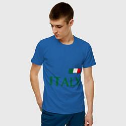 Мужская хлопковая футболка с принтом Сборная Италии: 1 номер, цвет: синий, артикул: 10014069700001 — фото 2