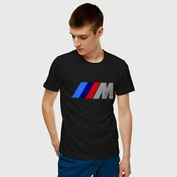 Футболка хлопковая мужская BMW M цвета черный — фото 2