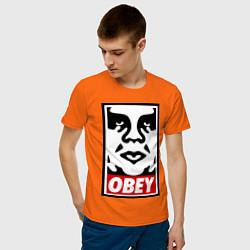 Футболка хлопковая мужская OBEY Face цвета оранжевый — фото 2