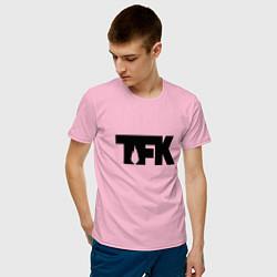Футболка хлопковая мужская TFK: Black Logo цвета светло-розовый — фото 2