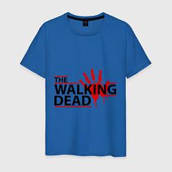 Мужская хлопковая футболка с принтом The Walking Dead, кровавый след, цвет: синий, артикул: 10015131700001 — фото 1