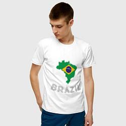 Футболка хлопковая мужская Brazil Country цвета белый — фото 2