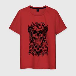 Футболка хлопковая мужская Slayer Skulls цвета красный — фото 1
