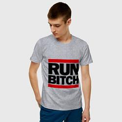 Мужская хлопковая футболка с принтом Run Bitch, цвет: меланж, артикул: 10015705700001 — фото 2