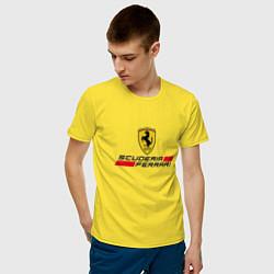 Футболка хлопковая мужская Scuderia Ferrari цвета желтый — фото 2