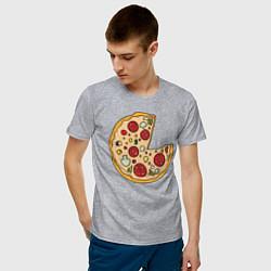 Футболка хлопковая мужская Пицца парная цвета меланж — фото 2