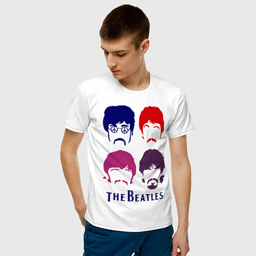 Мужская футболка The Beatles faces / Белый – фото 3