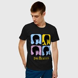 Футболка хлопковая мужская The Beatles: pop-art цвета черный — фото 2