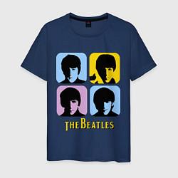 Футболка хлопковая мужская The Beatles: pop-art цвета тёмно-синий — фото 1