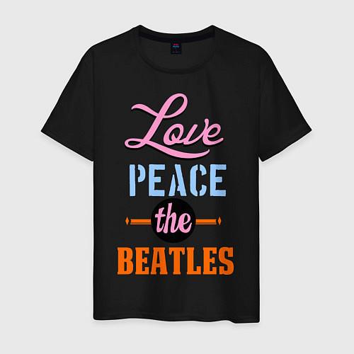 Мужская футболка Love peace the Beatles / Черный – фото 1