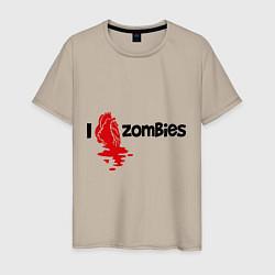 Футболка хлопковая мужская I love zombies цвета миндальный — фото 1