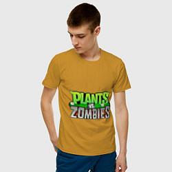 Футболка хлопковая мужская Plants vs zombies цвета горчичный — фото 2