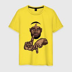 Мужская хлопковая футболка с принтом LeBron Style, цвет: желтый, артикул: 10162970500001 — фото 1