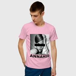 Футболка хлопковая мужская Rihanna цвета светло-розовый — фото 2