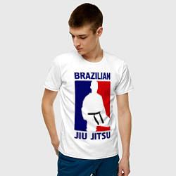 Футболка хлопковая мужская Brazilian Jiu jitsu цвета белый — фото 2