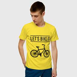 Футболка хлопковая мужская Lets bike it цвета желтый — фото 2