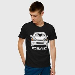 Мужская хлопковая футболка с принтом Honda Civic EK 6, цвет: черный, артикул: 10172360100001 — фото 2