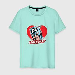 Футболка хлопковая мужская Capt America: Legendary heart цвета мятный — фото 1