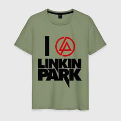 Футболка хлопковая мужская I love Linkin Park цвета авокадо — фото 1