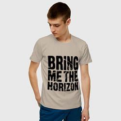 Мужская хлопковая футболка с принтом Bring me the horizon, цвет: миндальный, артикул: 10017329300001 — фото 2