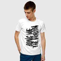 Мужская хлопковая футболка с принтом Bring me the horizon, цвет: белый, артикул: 10017330300001 — фото 2