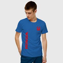 Мужская хлопковая футболка с принтом HONDA, цвет: синий, артикул: 10173934500001 — фото 2