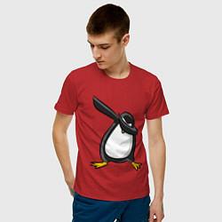Футболка хлопковая мужская DAB Pinguin цвета красный — фото 2