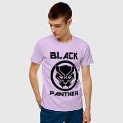 Футболка хлопковая мужская Черная пантера цвета лаванда — фото 2