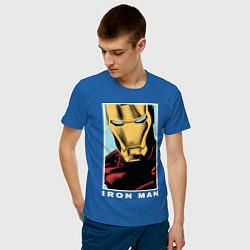 Мужская хлопковая футболка с принтом Iron Man, цвет: синий, артикул: 10178144100001 — фото 2