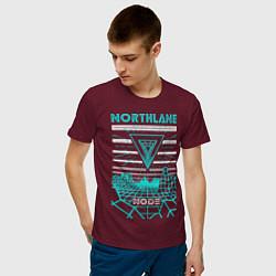 Футболка хлопковая мужская Northlane: Node цвета меланж-бордовый — фото 2