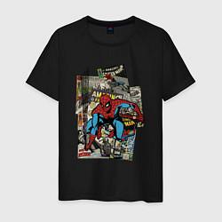 Футболка хлопковая мужская Spider-man comics цвета черный — фото 1