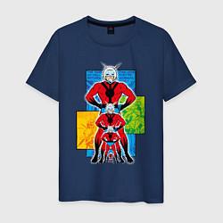 Футболка хлопковая мужская Человек-муравей комикс цвета тёмно-синий — фото 1