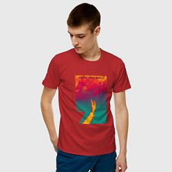 Футболка хлопковая мужская JONY Список твоих мыслей цвета красный — фото 2