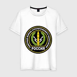 Футболка хлопковая мужская РВСН России цвета белый — фото 1