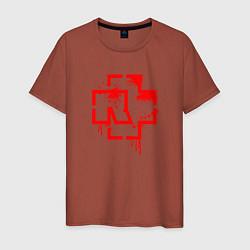 Футболка хлопковая мужская Rammstein: Red Logo цвета кирпичный — фото 1