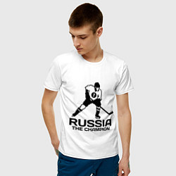 Футболка хлопковая мужская Russia: Hockey Champion цвета белый — фото 2