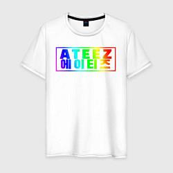 Мужская хлопковая футболка с принтом Ateez, цвет: белый, артикул: 10196325300001 — фото 1