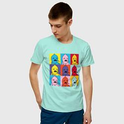 Футболка хлопковая мужская Граф Лимонхват pop-art цвета мятный — фото 2