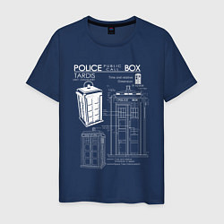 Футболка хлопковая мужская Доктор Кто, ТАРДИС цвета тёмно-синий — фото 1