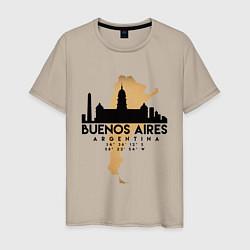 Футболка хлопковая мужская Буэнос-Айрес Аргентина цвета миндальный — фото 1